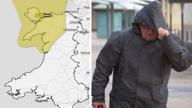 Met office issue warnings for wind and rain in wales bbc news the met office weather warning for north wales and a man walks in the wind and gumiabroncs Images