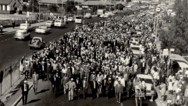 The funeral procession of Imam Haron in Cape Town, 1969