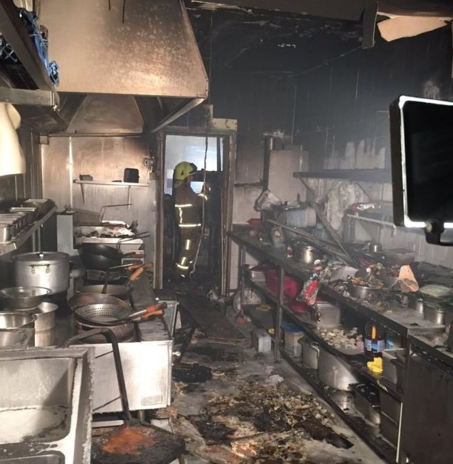Kitchen fat fire tackled at Sizzling Wok takeaway - BBC News