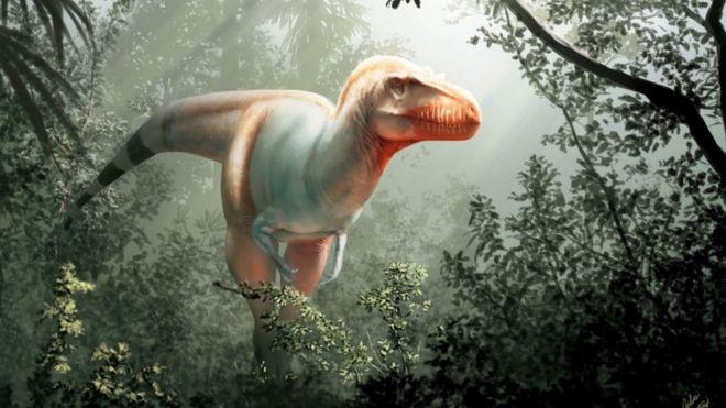 Impressão artística da espécie de tiranossauro encontrada