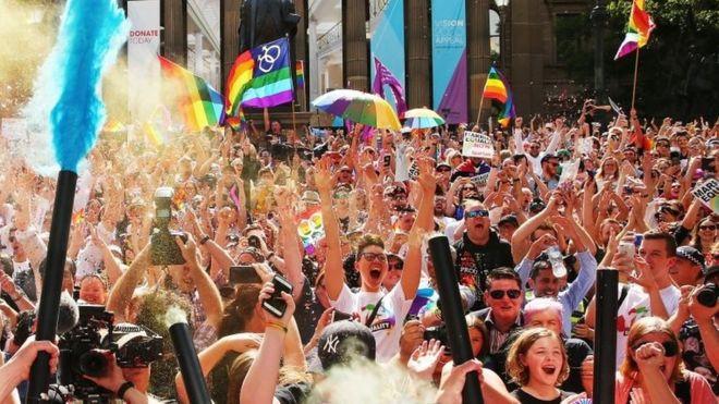The announcement prominent jubilant scenes across Australia