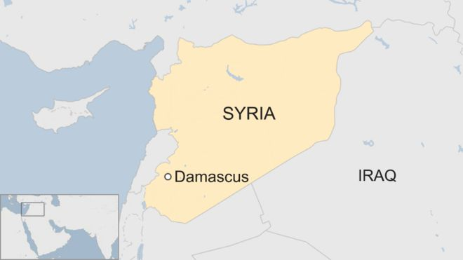 Map shows the area of Damascus in Syria