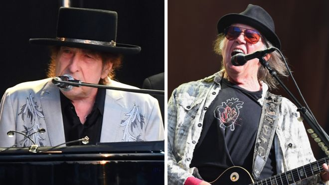 Bob Dylan and Neil Young share Hyde Park stage - BBC News