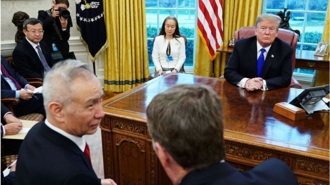 Donald Trump and China's Vice Premier Liu He in the Oval Office