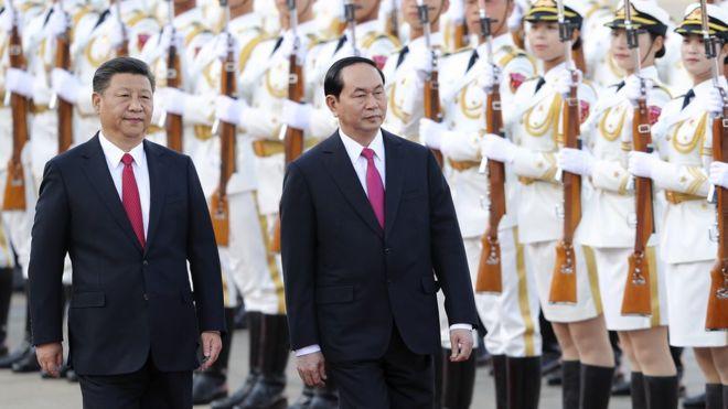 Chủ tịch Trần Đại Quang được Chủ tịch Tập Cận Bình tiếp đón hôm 11/5/2017 tại Bắc Kinh