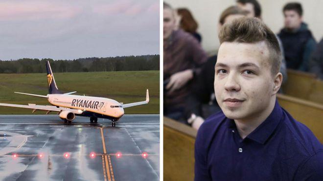 صورة مجمعة للطائرة بعد هبوطها في فيلنيون والصحفي المعارض رومان بروتاسيفيتش