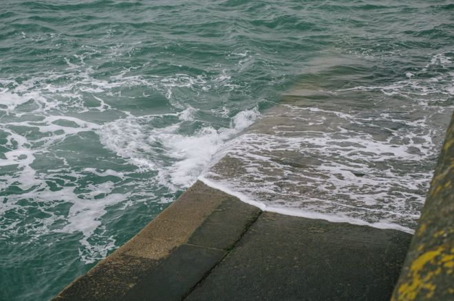 Sea on the sea wall