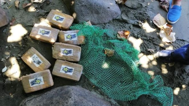 Cocaine packets wrapped in fishing nets in Mauban, Philippines