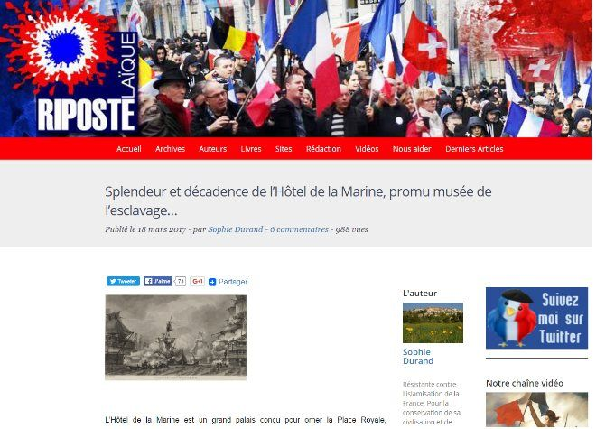 A screenshot of the website 'Riposte Laïque', saying that the Marine Hotel in Paris will be converted into a 'slavery museum'