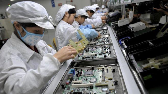 Trabalhadores na China