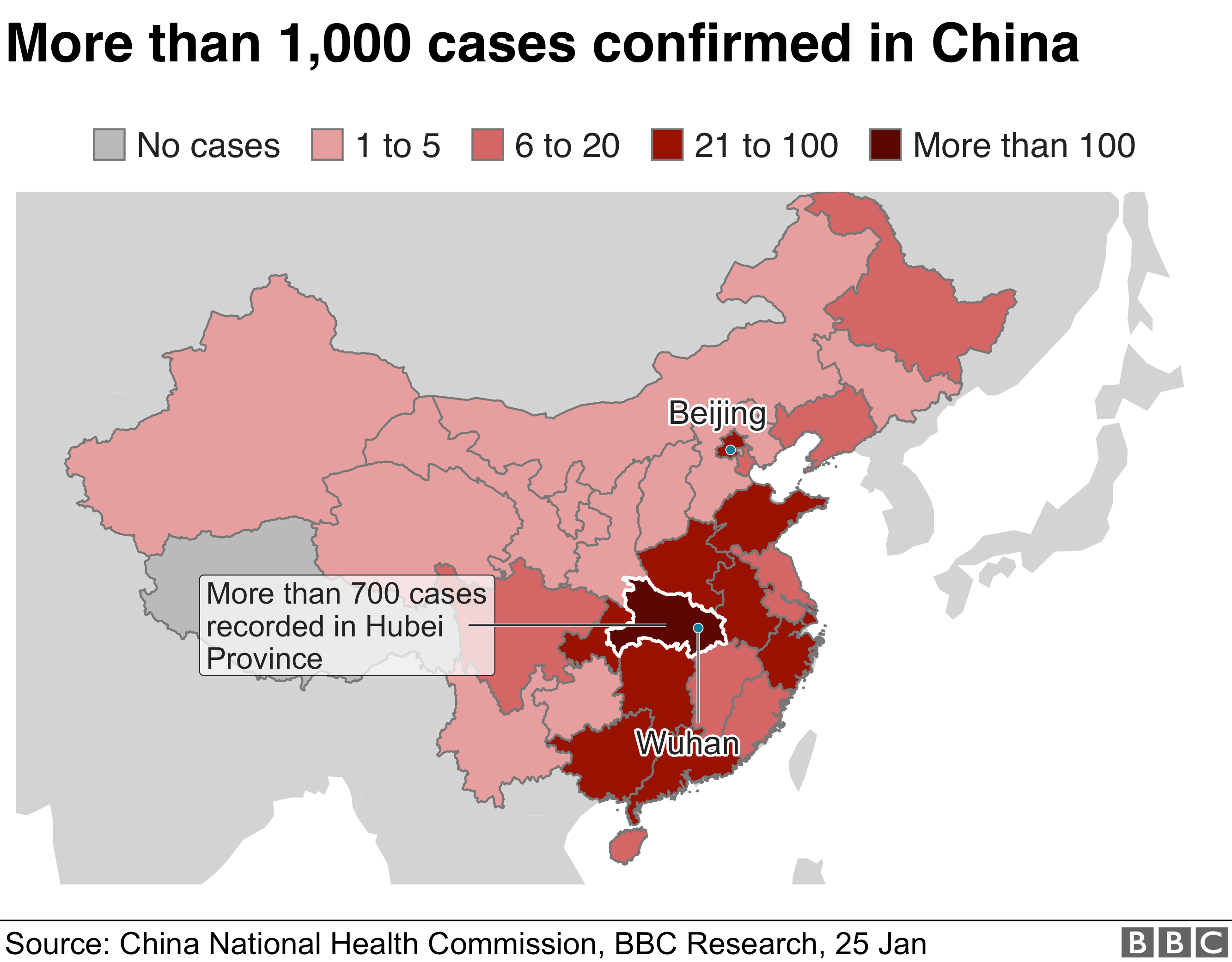 Map showing the number of virus cases in China