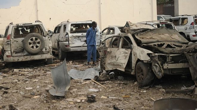 La devanture de l'hôtel Doorbin à Mogadiscio frappé par un attentat.