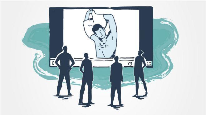 Ilustração de um homem despindo-se diante de uma webcam