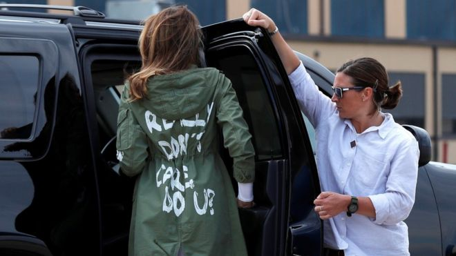 2b8be234712 Melania Trump says 'don't care' jacket was a message - BBC News