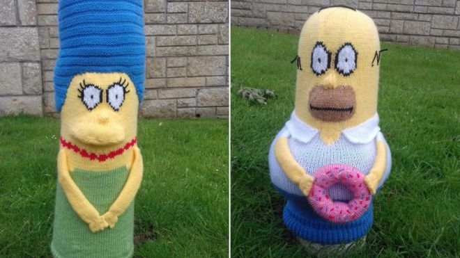 Bollard Cover Knitter Determined To Keep Knitting Despite Vandals
