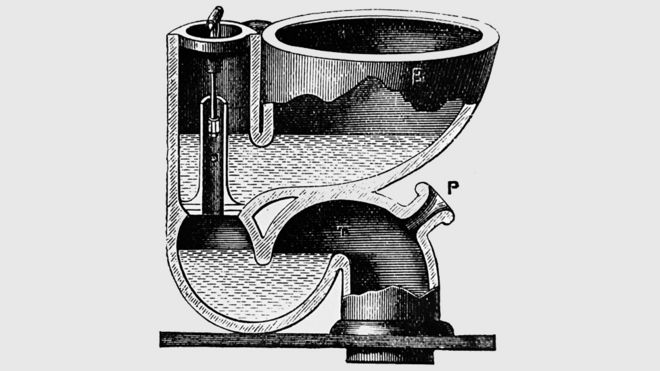 19th Century engraving depicting a water closet by Jennings of Lambeth, with valve and S-bend