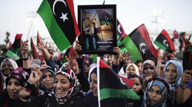 Libyan women celebrating in Tripoli in October 2011
