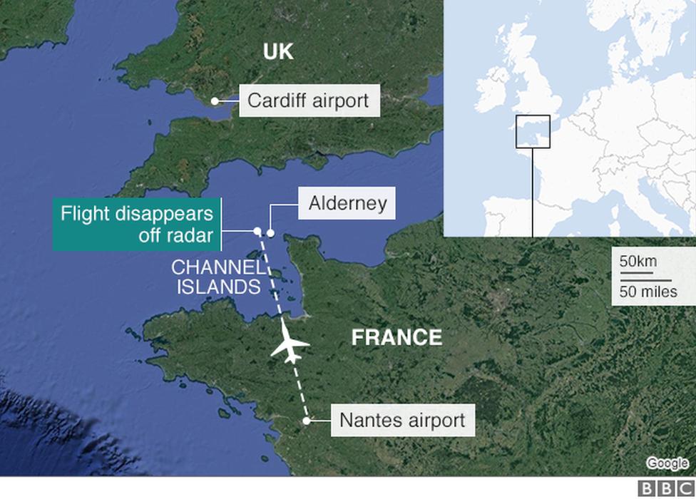 Карта с указанием расположения Олдерни и маяка
