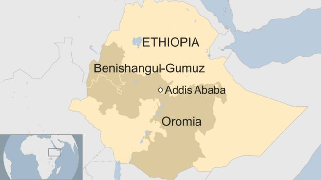Map of Benishangul-Gumuz and Oromia