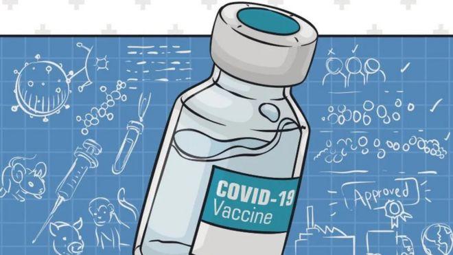 Ilustración de un frasco que contiene la vacuna de covid-19.