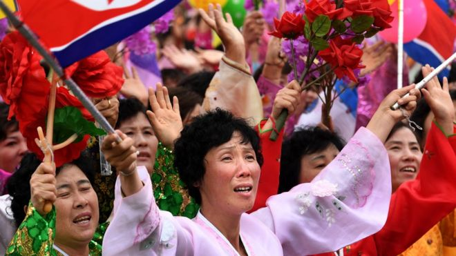 Cheering crowds in North Korea