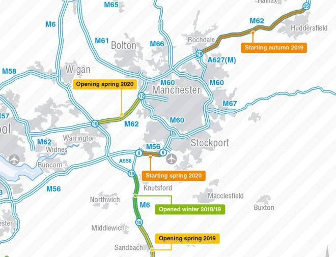 Motorway Map Of England.M6 And M56 Roadworks Delayed To Benefit Drivers Bbc News