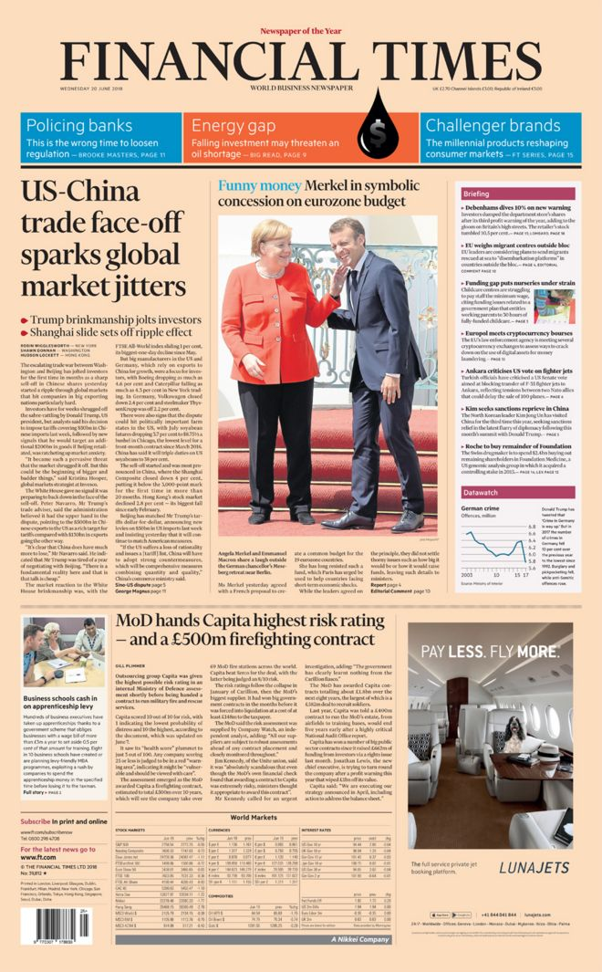 Financial Times front page - 20/06/18