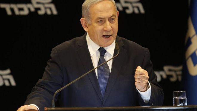Waziri Mkuu wa Israel Benjamin Netanyahu akizungumza na vyombo vya habari kuhusu nia yake ya kuwasilisha ombi la kinga dhidi ya mashitaka yanayomkabili, mjini Jerusalem Januari 1, 2020