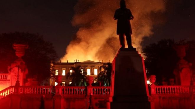 Firefighters try to extinguish a fire at the National Museum of Brazil in Rio de Janeiro, Brazil on 2 September 2018.