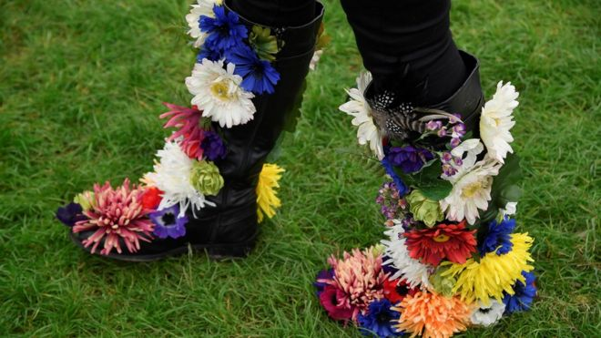 Flower covered boots