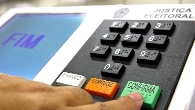 Dedo apertando botão 'confirma' em urna eletrônica