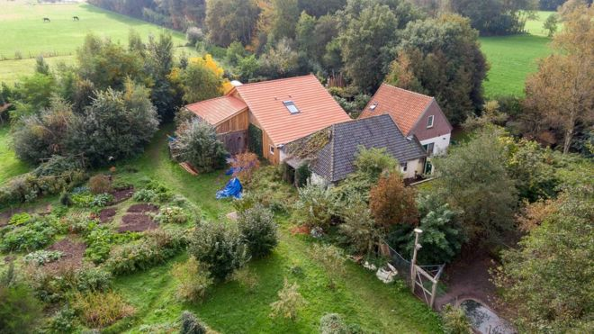 A drone photo of the farm, where a father and six children had been living in the cellar, in Ruinerwold, The Netherlands