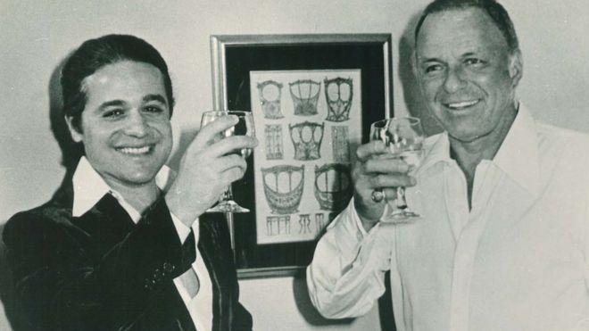 Roberto Medina e Frank Sinatra na ocasião do show do cantor no Maracanã