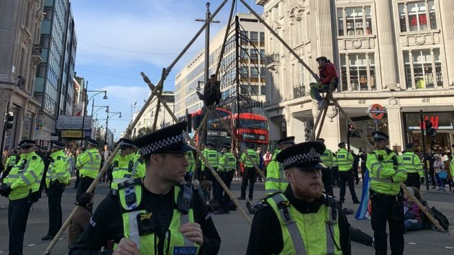 Extinction Rebellion protest in Oxford Circus