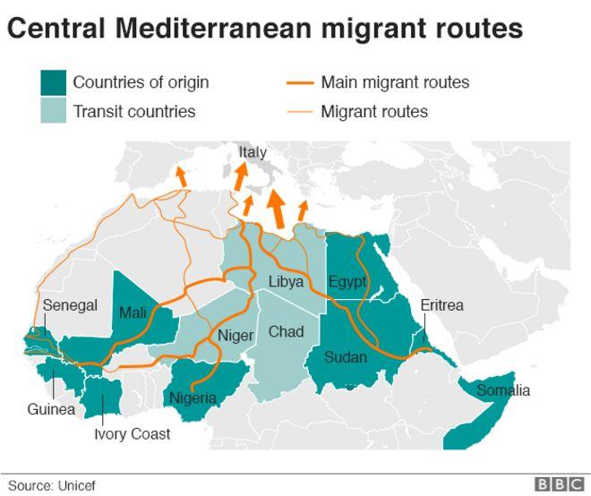 Карта, показывающая маршруты мигрантов из Средиземноморья
