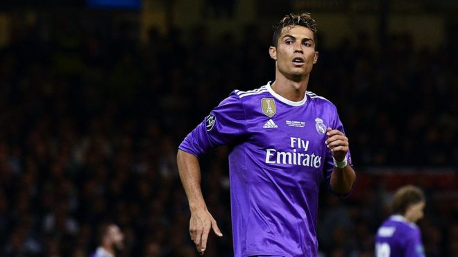 Криштиану Роналду играет за «Реал Мадрид» во время финала Лиги чемпионов
