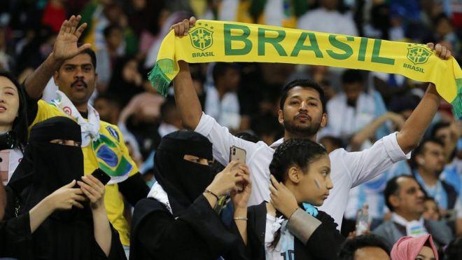 Football fans at a game between Brazil and Argentina in Riyadh, Saudi Arabia