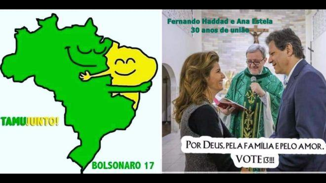 Memes pró-Haddad e Bolsonaro Direito de imagem Reprodução  Facebook.