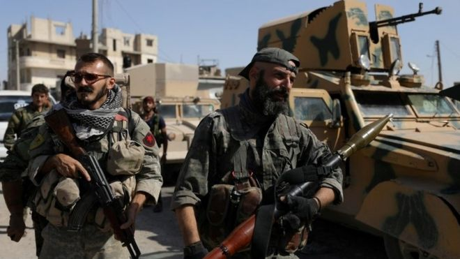 SDF fighters in Syria, file image
