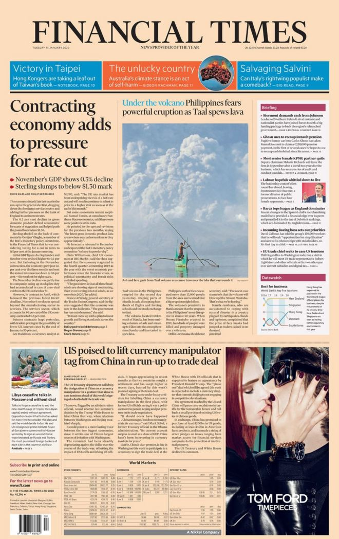 The Financial Times front page 14 January