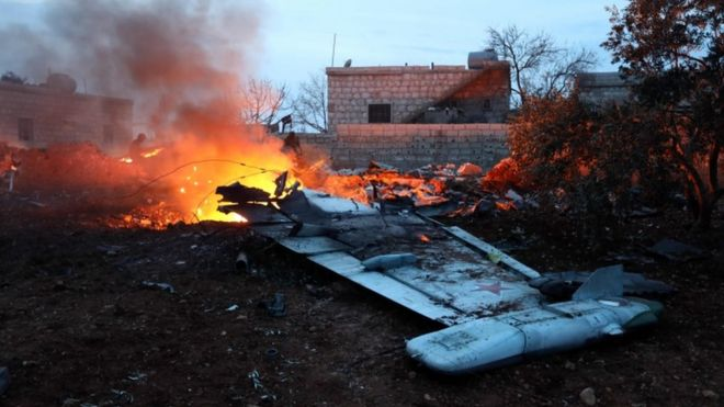 Images said to show the wreckage of the Sukhoi-25