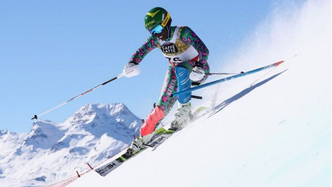 Sabrina Simader of Kenya competes in the Women's Slalom during the FIS Alpine World Ski Championships on February 18, 2017 in St Moritz,