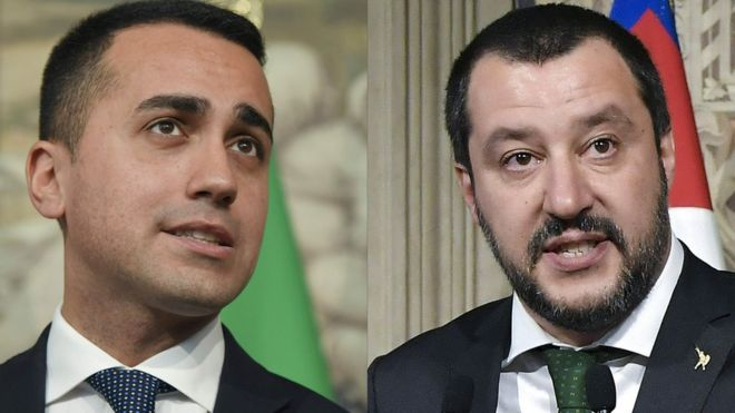 M5S leader Luigi Di Maio (L) and Lega leader Matteo Salvini