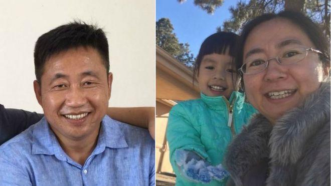 謝陽(左)的妻子陳桂秋(右)