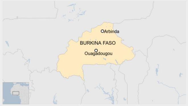 Ramani ya taifa la Burkina Faso ikionyesha mji wa Ouagadougou naArbinda