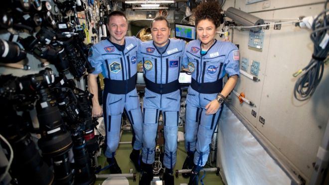 The trio on board the International Space Station (ISS)