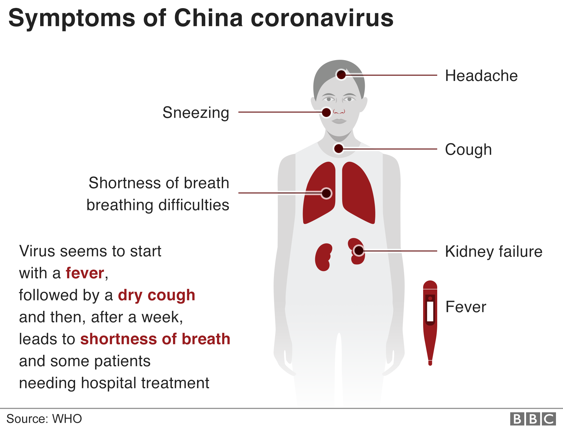 Infographic showing the symptoms of the coronavirus
