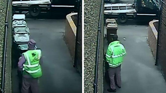 8a47cb934 Binmen  caught urinating on wheelie bins in Wakefield  - BBC News