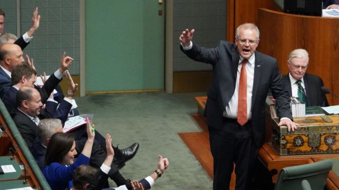 Australian Prime Minister Scott Morrison And Several Government Mps Raise Their Hands In The House Of