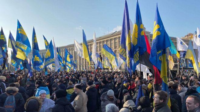 В Киеве прошли акции протеста перед встречей Путина и Зеленского в Париже